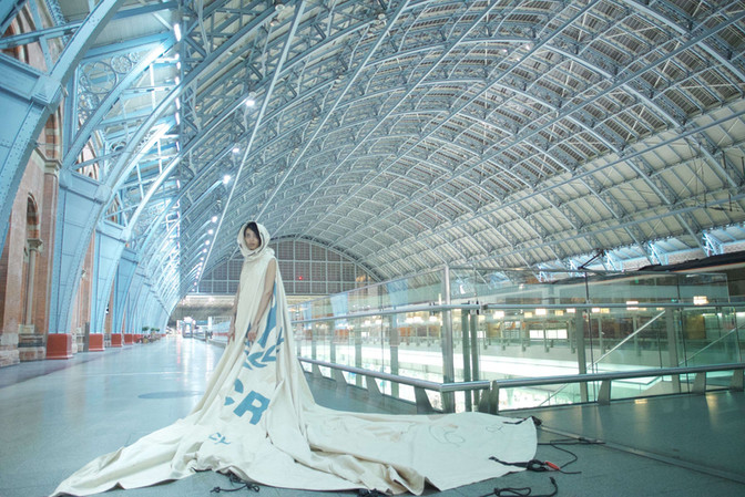 Dress worn at overnight film shoot/ St Pancras Station – image by David Betteridge