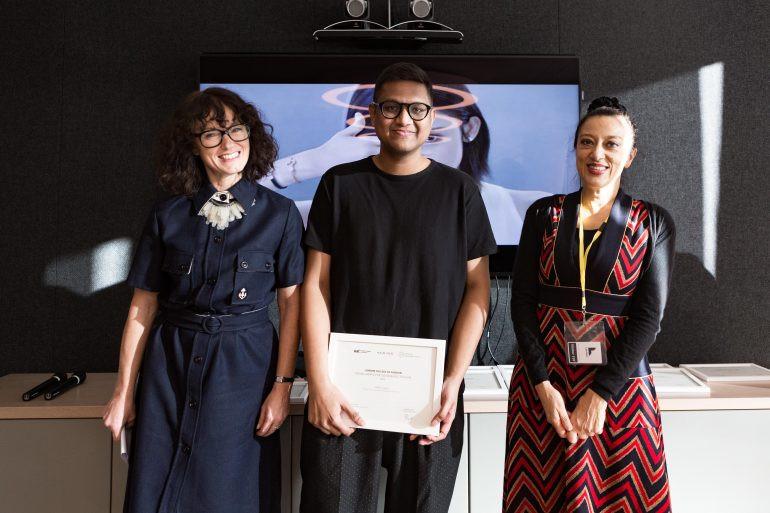Abhinov collecting his Kering Award