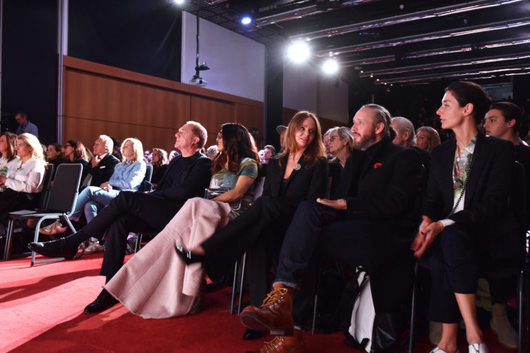 LONDON, ENGLAND - NOVEMBER 14: (L to R) Francois-Henri Pinault, CEO of Kering, Salma Hayek, Stella McCartney, Alasdhair Willis and Mary McCartney attend the 2016 Kering Talk at the London College of Fashion on November 14, 2016 in London, England. Pic Credit: Dave Benett