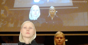 women looking into camera and projected behind too – Image courtesy of Martine Jarlgaard