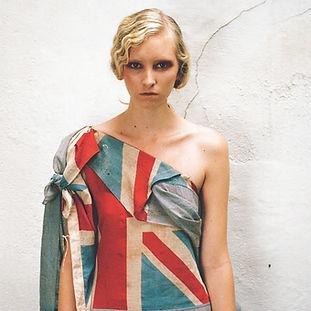 Model wearing dress by MA Fashion student