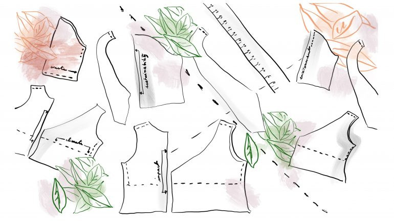 illustration of pattern pieces for Conde Nast Glossary