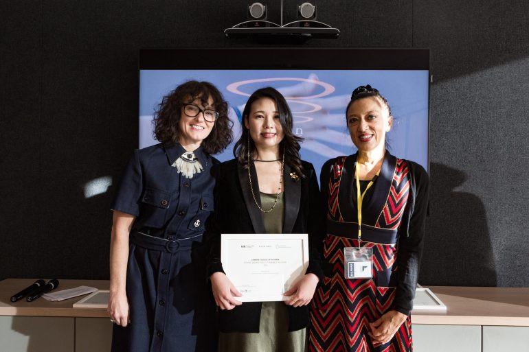 Kering Award winner Shengnan collecting her prize
