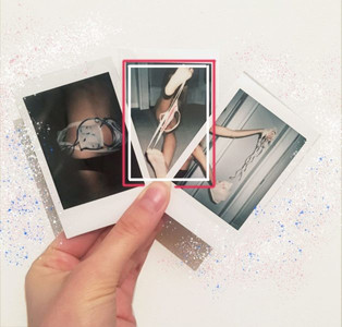 3 polaroids with images of underwear experiments by Gabriella Bilotta
