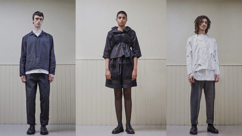 three models stood looking at the camera, wearing AW20 Phoebe English designs