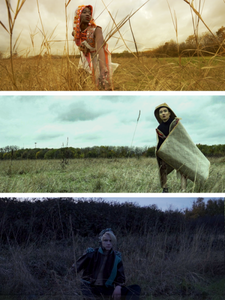 three images of models wearing clothing in a field by Anustha Kishor