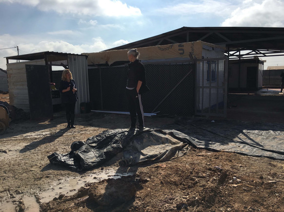 Helen and Anne site visit to Zaatari's first build of Women's Centre