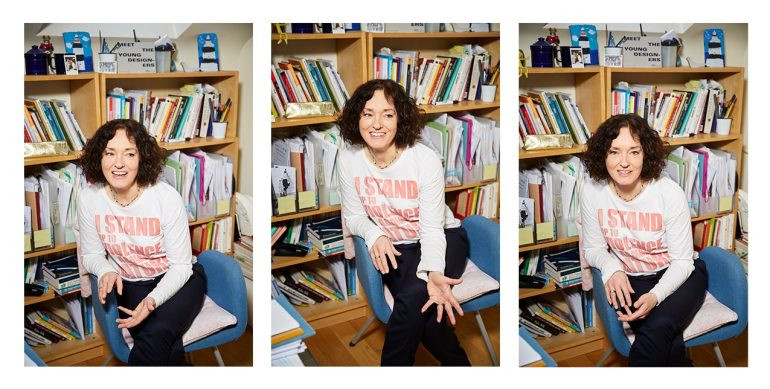 Professor Dilys Williams sitting looking animated in a series of portraits