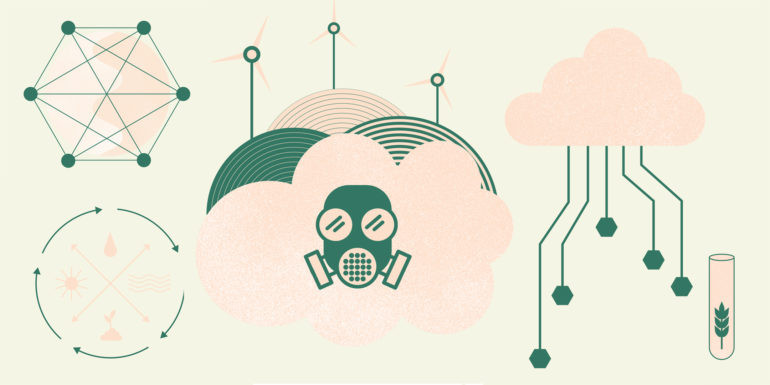 Graphic illustration of clouds and pollution related items
