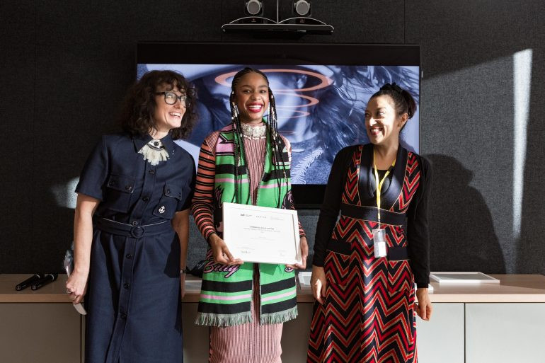 Kering Award winner Damara collecting her prize