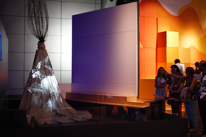 Dress with migration data projection at Science Museum, London – image copyright The Science Museum.