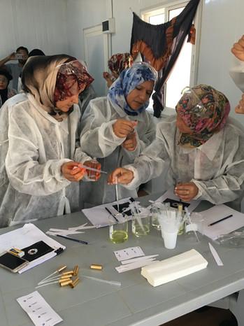 Syrian refugee women designing perfume