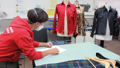 ReGo project participant during a garment analysis activity at LCF.