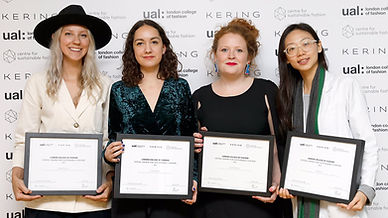 award winners standing with their prizes at the kering awards