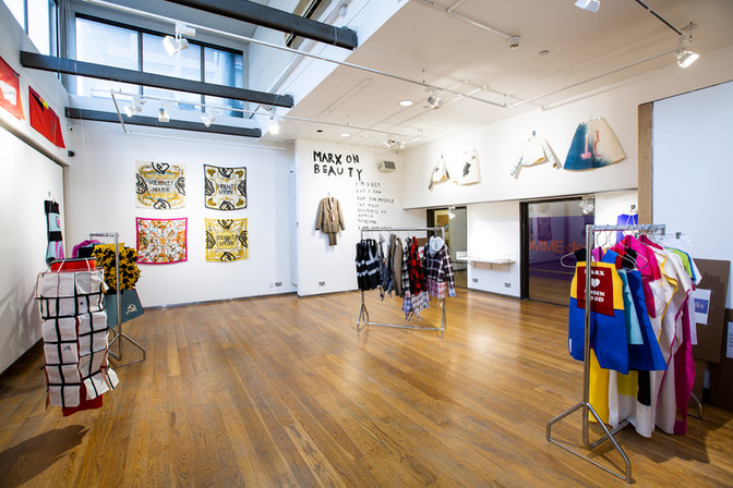 COMME des MARXISTS exhibition view at Fashion Space Gallery, 2018. Photo Katy Davies
