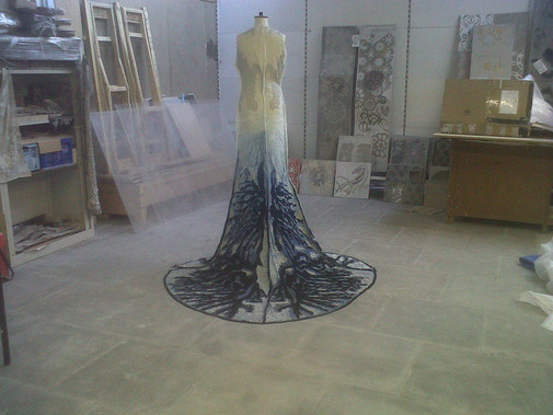 First air purification dress in studio.