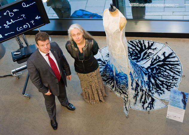 Prof Tony Ryan (scientist) Prof Helen Storey    (Designer) with air purifying dress 'HERSELF'