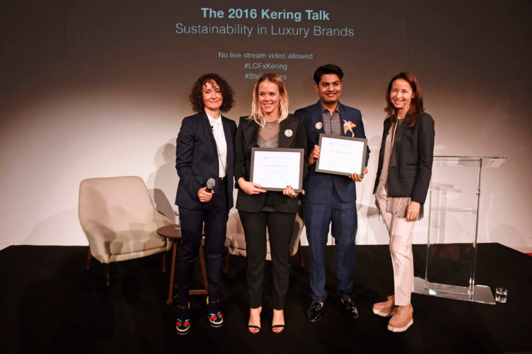 LONDON, ENGLAND - NOVEMBER 14:  (L to R) Dilys Williams, Director of Centre for Sustainable Fashion at London College of Fashion, award winners Elise Comrie and Agraj Jain, and Beatrice Lazat, Human Resources Director at Kering,attend the 2016 Kering Talk at the London College of Fashion on November 14, 2016 in London, England.   Pic Credit: Dave Benett