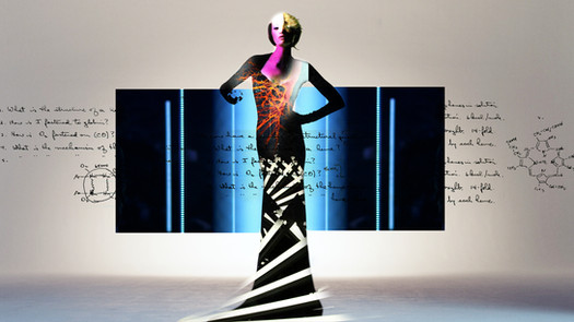 Mock-up of image of a woman wearing the air purifying dress from the film