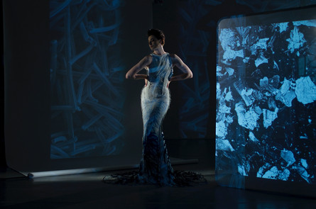 Erin O'Connor in the first air purification gown – image by Adam Mufti