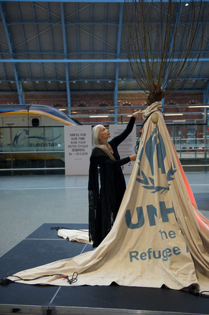 Dress and Helen at St Pancras International Station installation