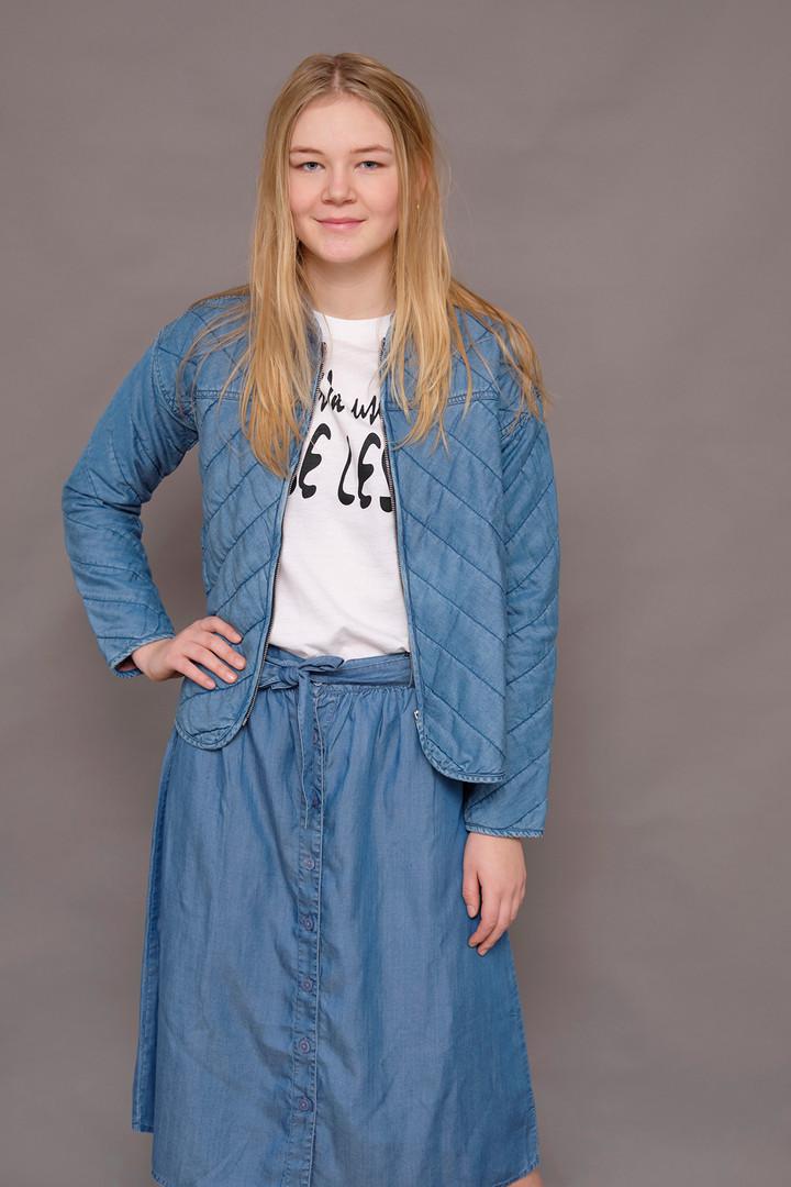 Tencel jacket, tencel skirt, recycled t-shirt