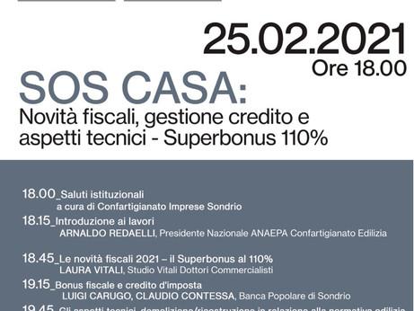 SONDRIO - Superbonus 110%, novità fiscali, gestione del credito e aspetti tecnici. Webinar 25.2.21