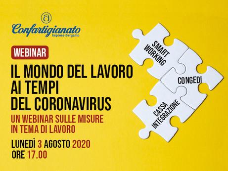 BERGAMO - Il mondo del lavoro ai tempi del Coronavirus. Un webinar gratuito il 3 agosto