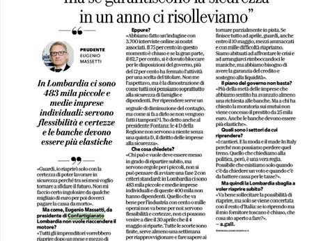 """CORONAVIRUS – Massetti oggi su la Repubblica: """"Già persi 25 miliardi, ma se garantiscono la sic"""