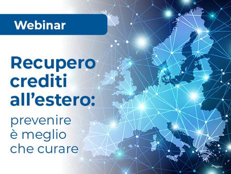 """BERGAMO - Webinar """"Recupero crediti all'estero: prevenire è meglio che curare""""."""