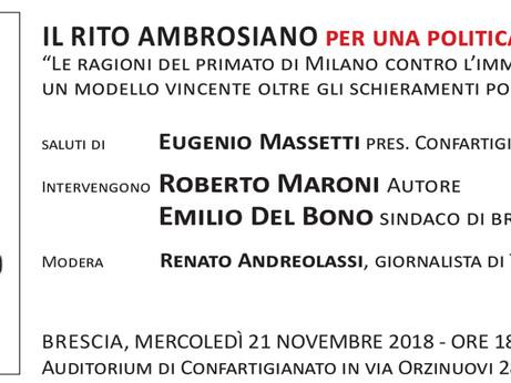 BRESCIA: In Confartigianato il nuovo libro di Roberto Maroni