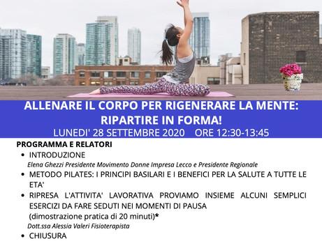 """LECCO - Webinar """"Allenare il corpo per rigenerare la mente: ripartire in forma!"""" lunedì 28 settembre"""
