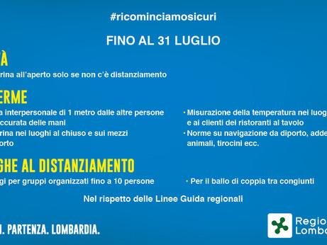 CORONAVIRUS - Regione Lombardia: nuova ordinanza in vigore fino al 31 luglio