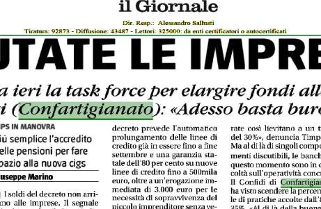 CORONAVIRUS - Il Presidente Merletti su Il Giornale: 'Liquidità alle imprese frenata dalla burocrazi