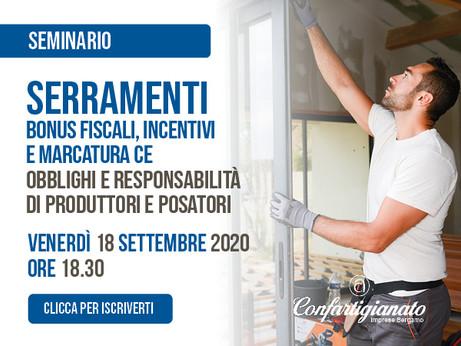 BERGAMO - Seminario gratuito per il settore Serramentisti - Venerdì 18 settembre a Bergamo