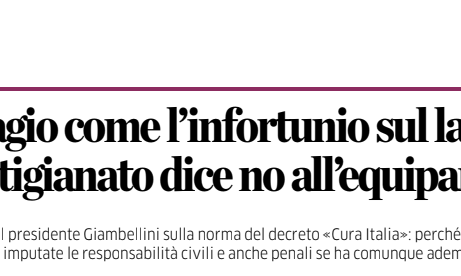 BERGAMO - L'Eco di Bergamo: Confartigianato dice no all'equiparazione di contagio e infortun