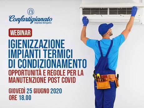 BERGAMO - Impiantisti al tempo del Covid. Il 25 giugno webinar sulla sanificazione e manutenzione