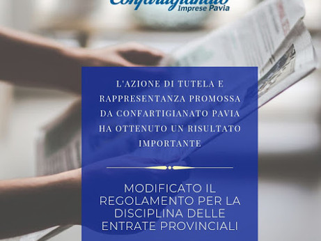 PAVIA - Modificato il regolamento per la disciplina delle entrate provinciali.  Il Presidente di Con
