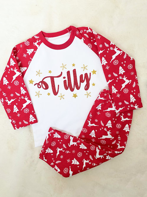 Childrens  Red Reindeer Xmas PJ's