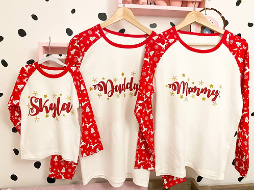 Family set of 4  Red Xmas PJ's