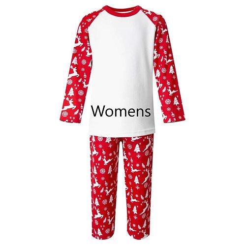 Womens Red Reindeer Xmas PJ's