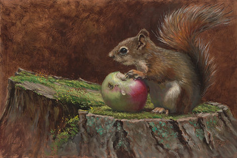 An Apple a Day - Red Squirrel, oil on co