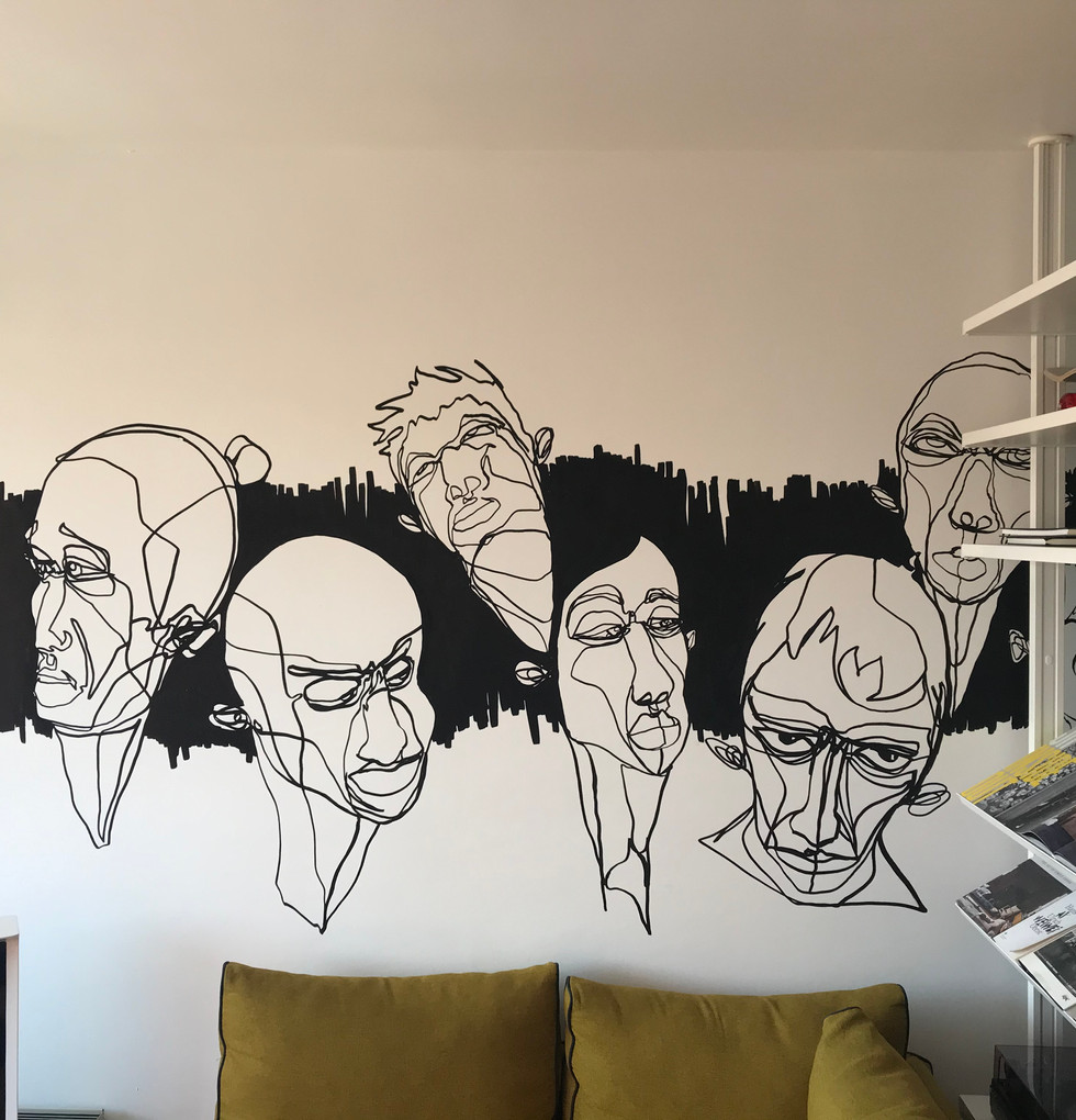 fresque murale salon