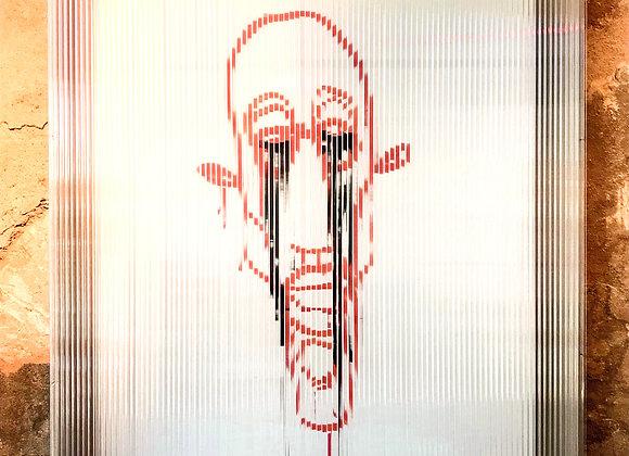 """oeuvre """"visage larme noir en cage"""" 130x100"""