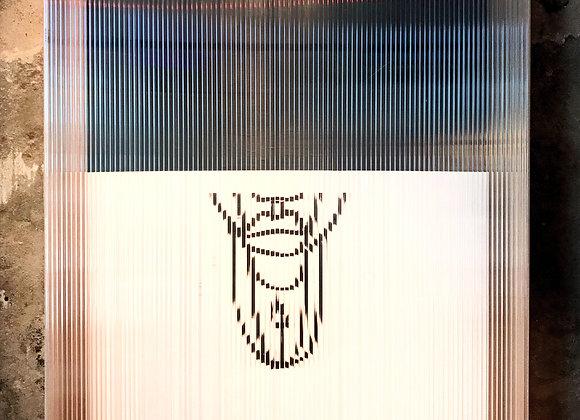 """oeuvre """"visage masqué en cage"""" 130x100"""