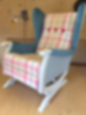 Hand painted upholstered rocking chair