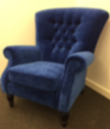 Reupholstered Blue Armchair