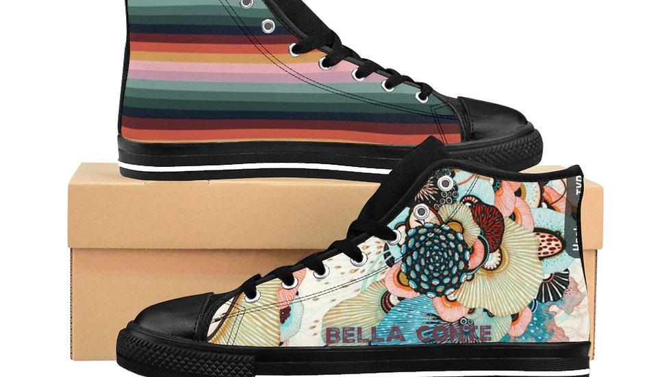 Rainbow flowers women high top sneakers