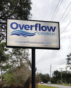 OverFlow Chuch Lighted Pole Sign