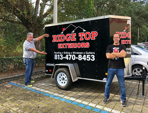 Ridge Top Exteriors Trailer Vinyl Lettering